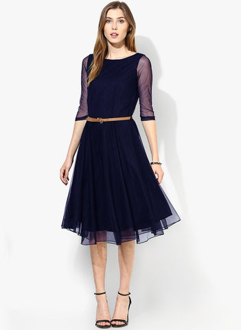 Navy Blue Net Black Dress