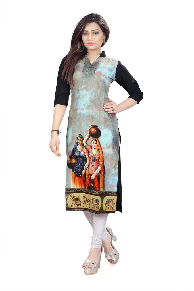 Crepe Self Pattern Graphic Kurtis