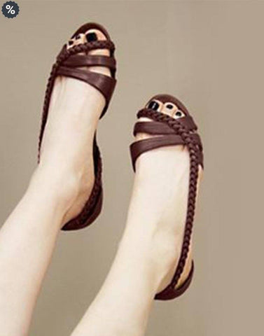 Salt Water Leather Brown Flat