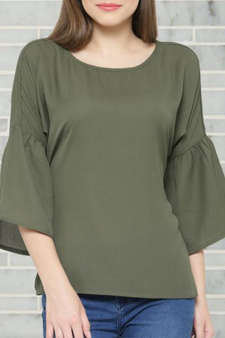 Bow Tie Back Olive Top