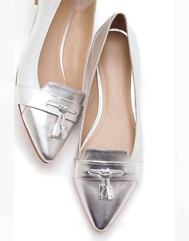 Silver Madame Tie Up Flats