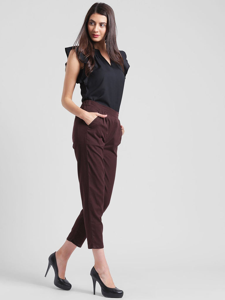 Dark Maroon Trousers with Pleated Front