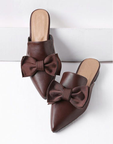 Bows On Fire Brown Ballerinas