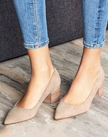 Beige Striped Block Heels