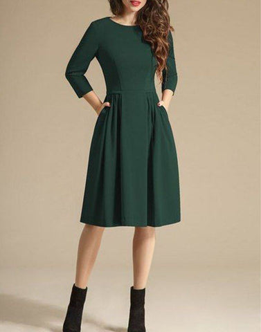 Green Glamour Solid Dress