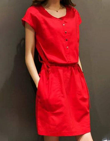 Red Buttoned Ravel Dress