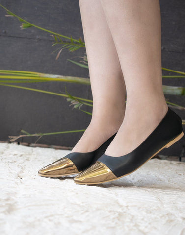 Black Metallic Belly Flat
