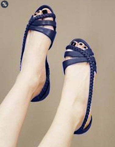 Salt Water Leather Blue Flat