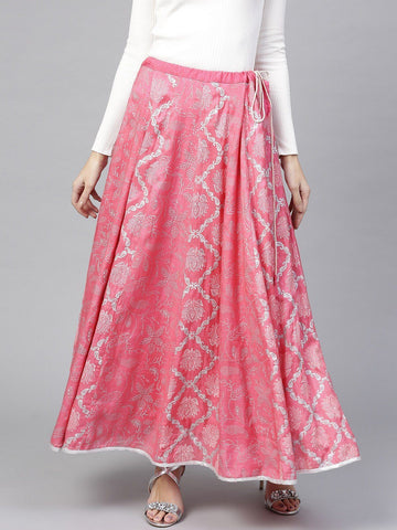 Pannkh Women's Lotus Inspired Printed Kalidaar Skirt