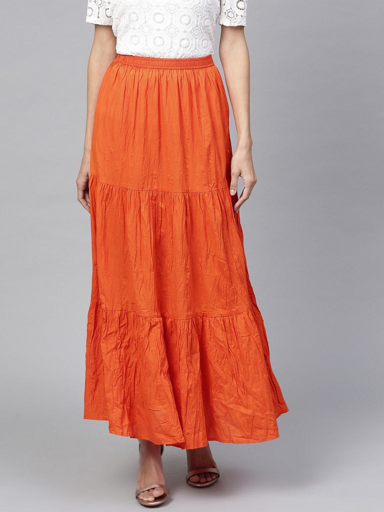 Pannkh Women's Tiered Flared Elasticed Skirt
