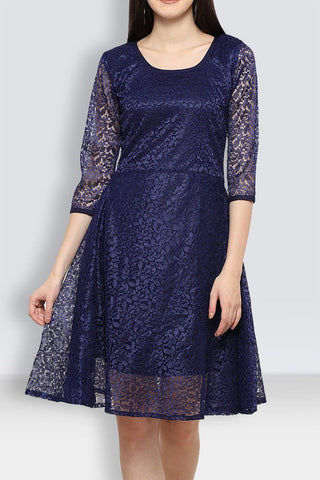 Navy blue Net Beautiful Dress