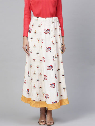 Pannkh Women's Peacock Inspired Printed Kalidaar Skirt