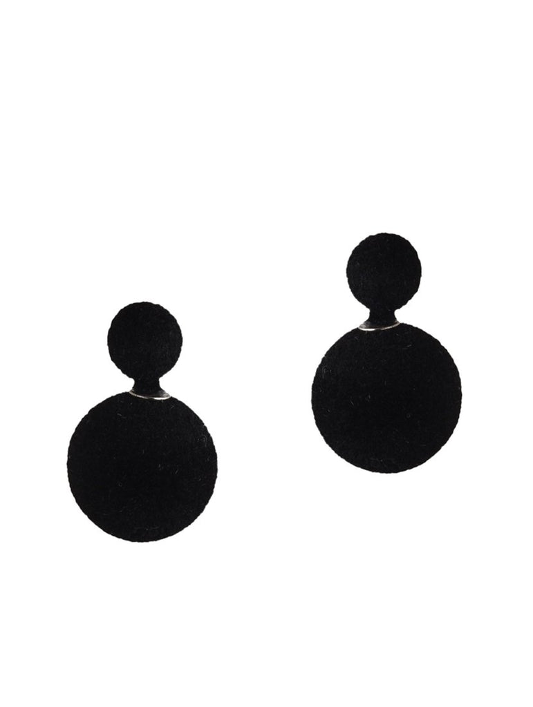 Black Double Sided Cotton Ball Earring