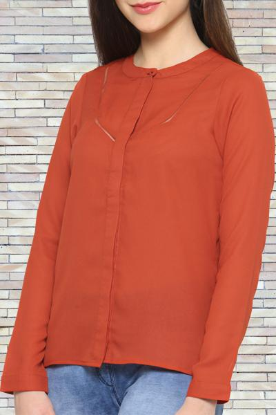 Buttoned Up Rust Top