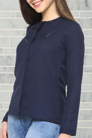 Buttoned Up Navy Blue Top