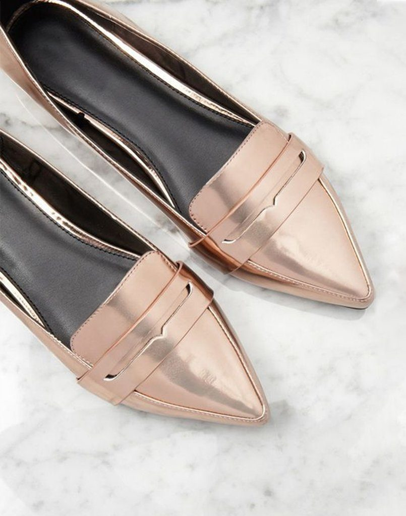 Rose Gold Shine On Ballerinas