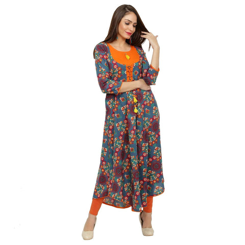 Jaipur Printed Orange Cotton Anarkali Kurtis