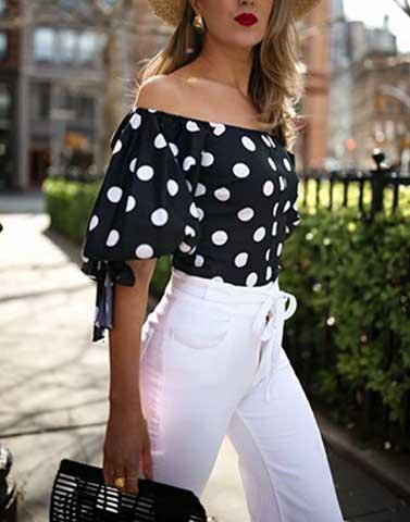 Retro Polka Balloon Top