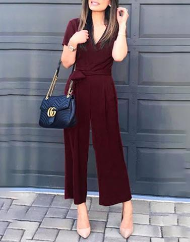 Simple Wine V-Neck Jumpsuit