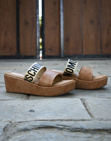 Brown Moschino Wedge Heels