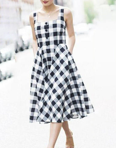 Checkered Apron Dress