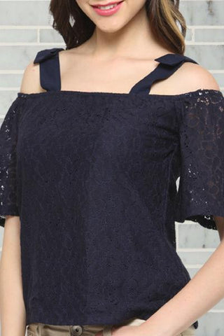 Double Wide Strap Cold Shoulder Navy Top