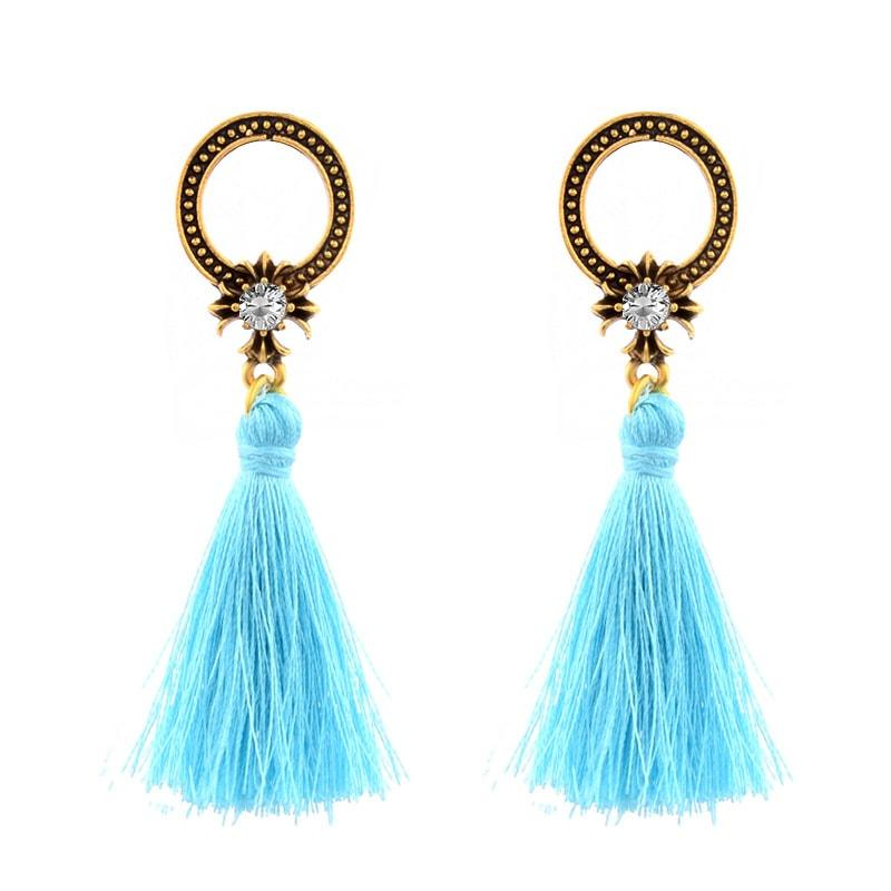 Chandrabali Stone Studded Turquoise Thread Tassel Party Earrings