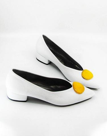 Dot Me Yellow White Heels