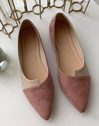 Color Block Pink And Cream Flats