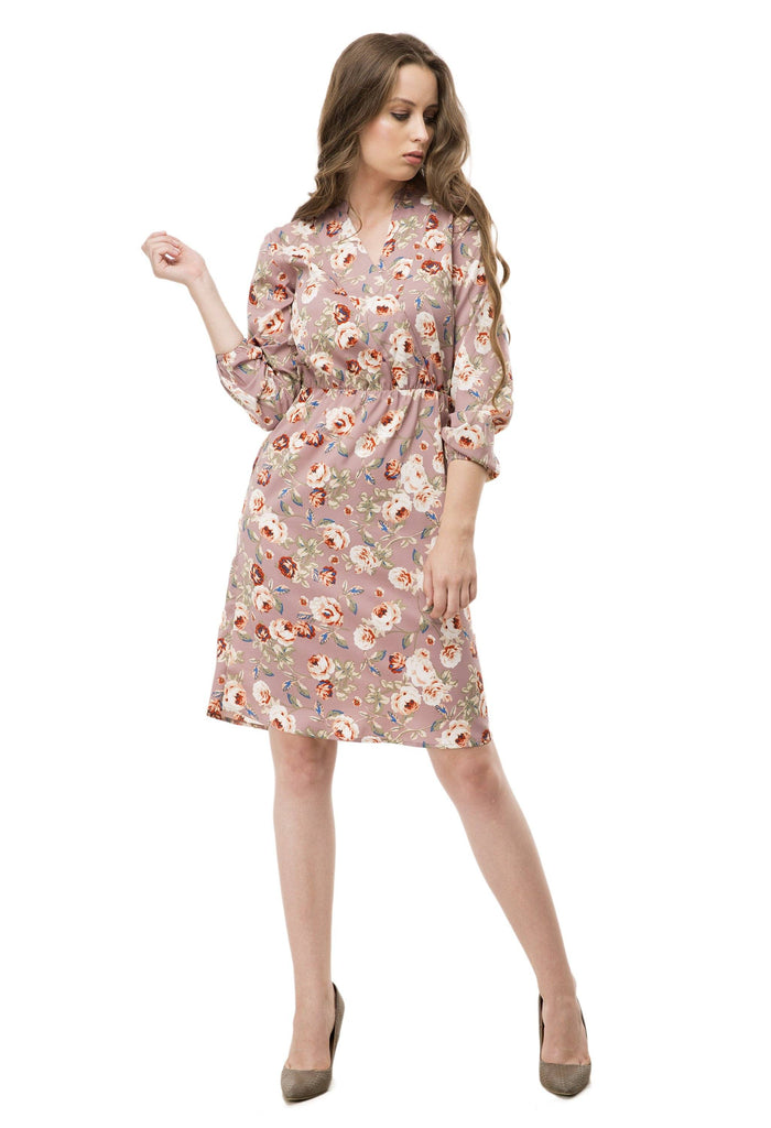 Floral Printed Overlap Neck Dress