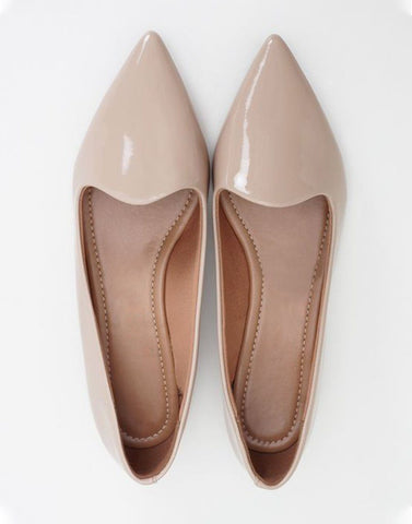All Beige Pointed Toe Ballerinas
