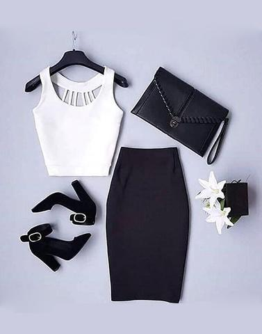 Back Cut-Out Crop Top And Skirt Set