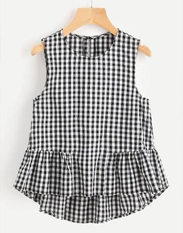 Frills 'n' Fun Checkered Top