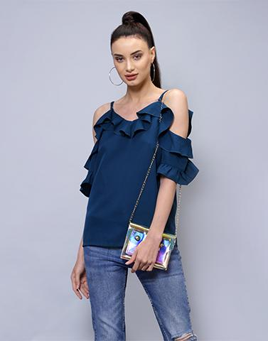 Basic In Blue Ruffle Top