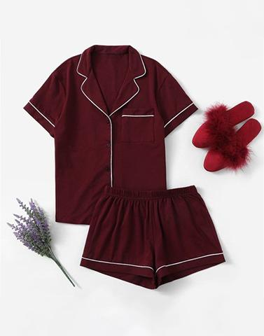 Dreaming In Maroon Nightwear Set