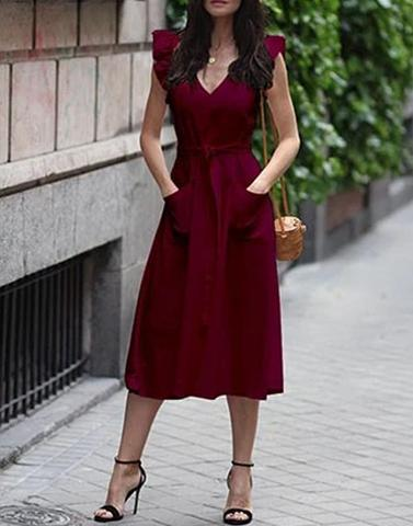 Ladylike Maroon Long Dress