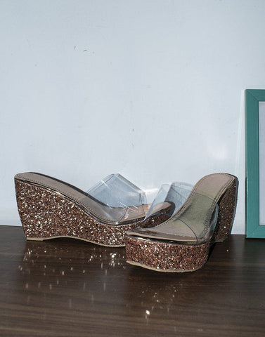 Transy Rose Gold Wedge Heels