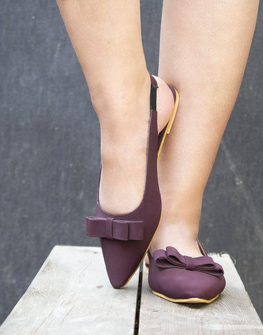 Wine Pointed Toe Ballerina