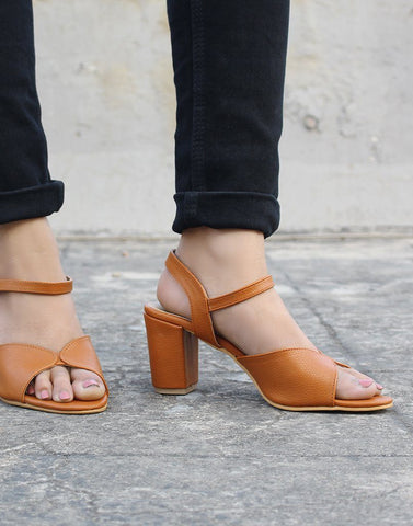 Cross-Strap Tan-Brown Sandals