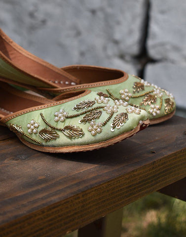 Pastel Pista Droplet Leather Jutti