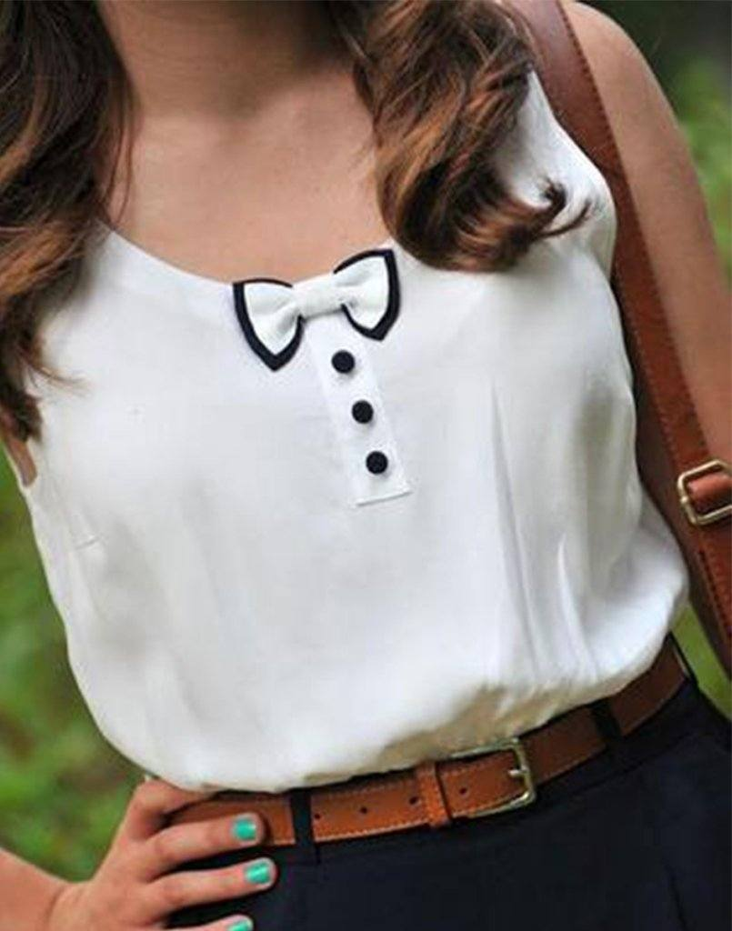 Bow Buttoned Sleeveless Top
