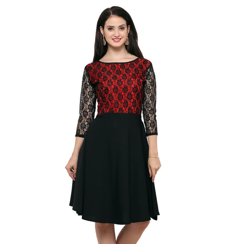 Floral Laced Panel Flared Dress