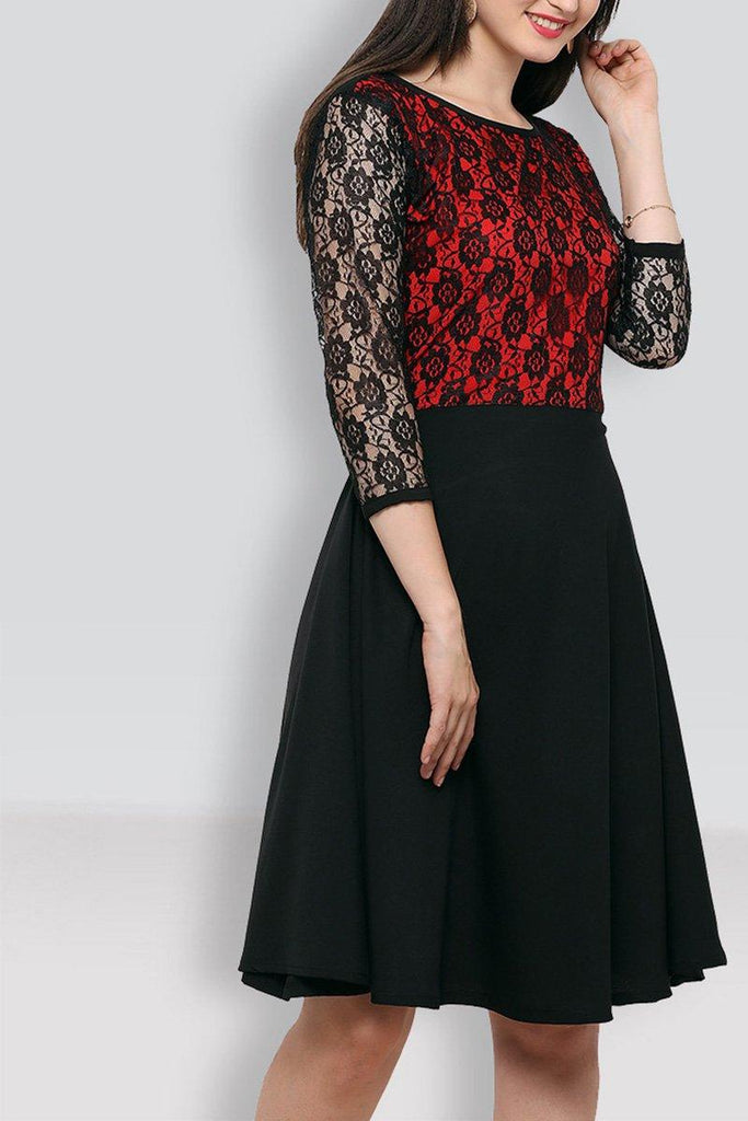Black & Red Knee Length Dress