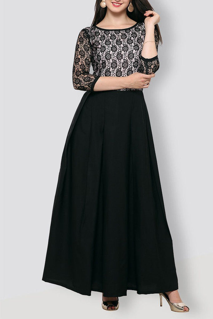 Black  & White Lace Work Maxi Dress