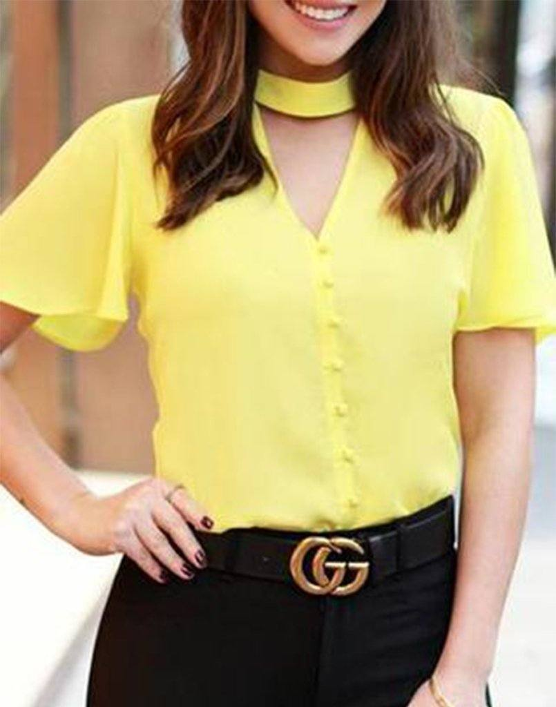 Pleasing Breeze Mustard Yellow Top