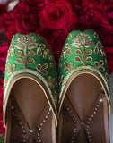 Green Bridesmaid Leather Juttis