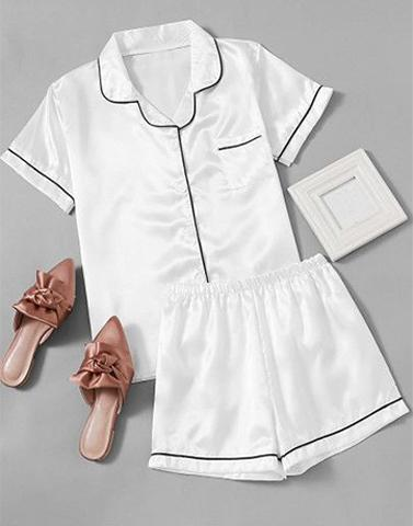 Cozy White Satin Nightwear Set