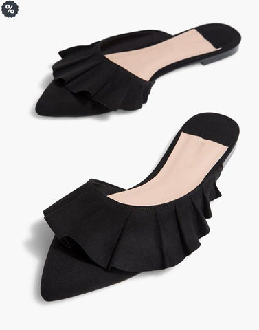 Flared Black Pointed Designer Mules