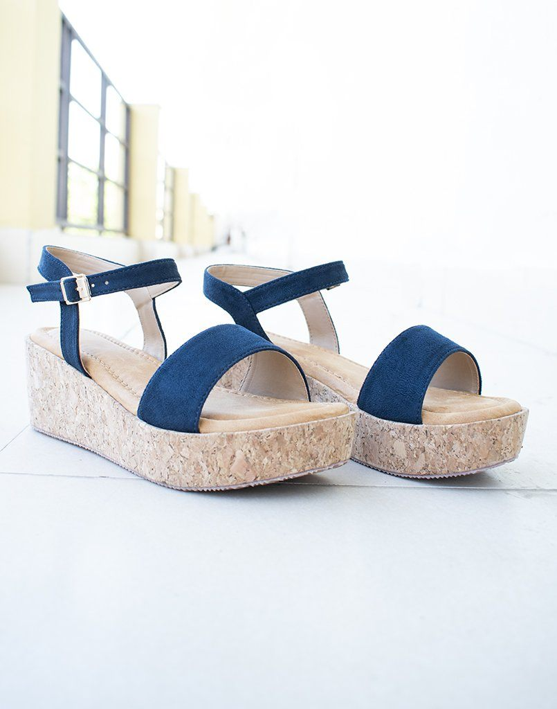 Basic Blue Wedge Heels