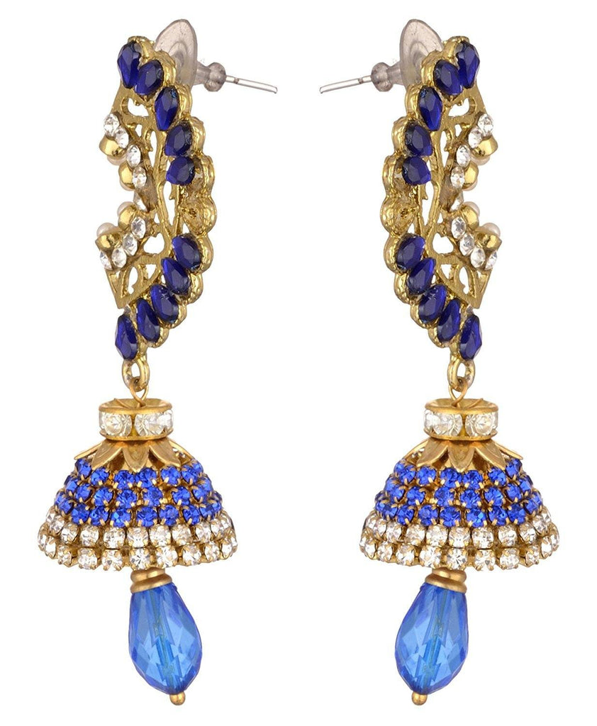 KSHITIJ JEWELS Blue Alloy Jhumki Earrings for Women (KJS220)